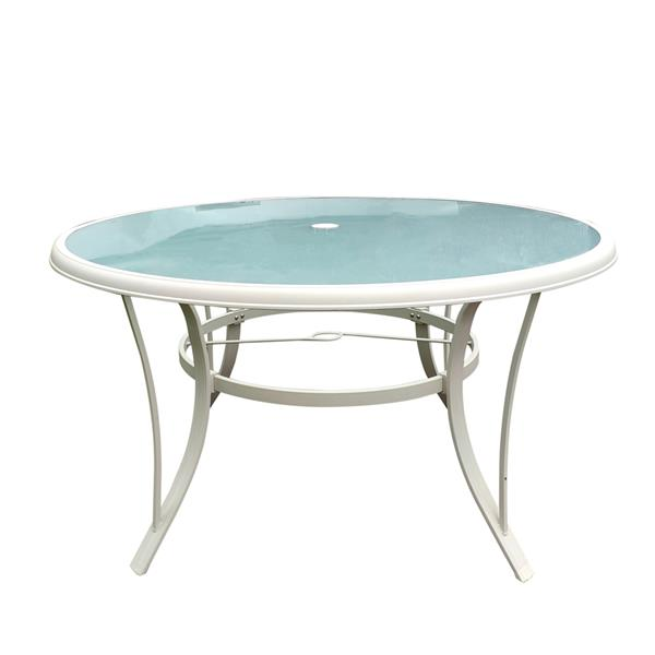 Patio Dining Table,Tempered glass Round Table, Parasol Table,Umbrella Table,for Outdoor Lawn & Garden, Kitchen & Dining,White