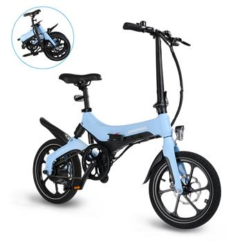 "GRUNDIG Electric Bike S6 Blue, Foldable E-bike Bicycle for Adult with Detachable Battery 16"" Tires 250W Motor Dual Disc Brakes Shock Absorber Magnesium Alloy Frame and 3 Speed Modes, Max Speed 25 km/h"