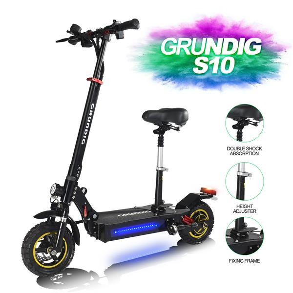 """GRUNDIG S10 Electric Scooter for Adults, Foldable Electric Scooter with 500W Motors Li-Ion Battery 48V13AH,10"""" Air-filled Anti-slip Tires, Max Speed 45 km/h, Max to 60KM Running Distance E Scooter"""