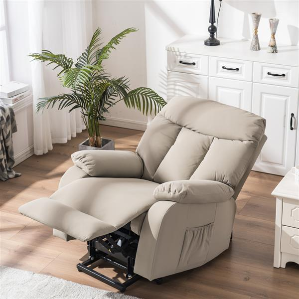 Type A Electric Lift Function Chair with Massage Silver White PU A and B box