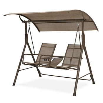 2 Person Patio Swing Steel Frame textlene cover Adjustable, Swing Bench, Suitable for Patio, Garden, Poolside, Balcony (Brown)