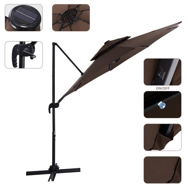 10 FT Solar Powered LED Patio Outdoor Umbrella Hanging Umbrella Cantilever Umbrella Offset Umbrella Easy Open Lift 360 Degree Rotation with 32 LED Lights (brown)
