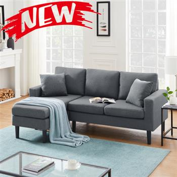 Reversible sectional sofa, the ottoman and seat cushion are removable
