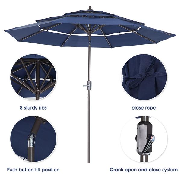 Patio Umbrella 3 Tiers Outdoor Umbrella Patio Table Umbrella with Push Button Tilt, Crank and 8 Ribs - navy blue