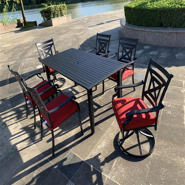 2 pcs Swivel Chairs From Patio Metal Dining Furniture Set with  cushion for Outdoor Lawn Garden, Black