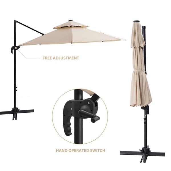 10 FT Solar Powered LED Patio Outdoor Umbrella Hanging Umbrella Cantilever Umbrella Offset Umbrella Easy Open Lift 360 Degree Rotation with 32 LED Lights (Beige)