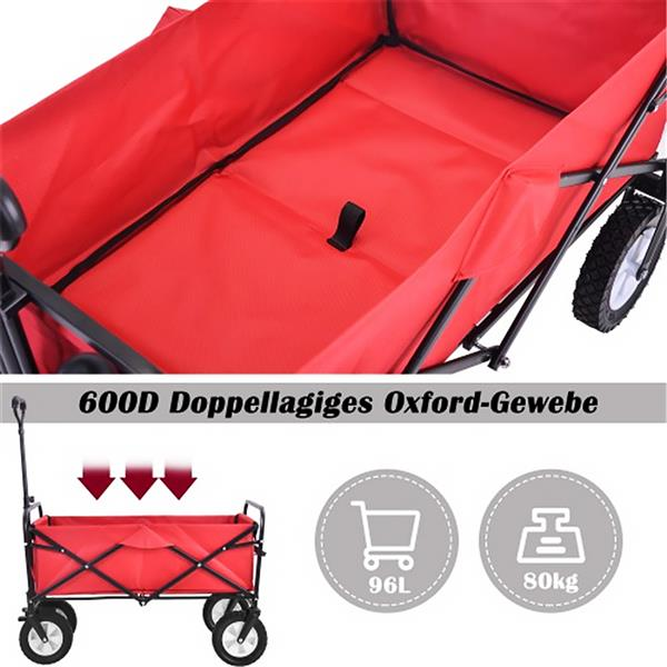 Collapsible handcart outside Alles Terrain handcart with wide brake wheels, mesh cup holders, adjustable handle, fabric bag, red