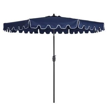 Outdoor Patio Umbrella 9-Feet Flap Market Table Umbrella 8 Sturdy Ribs with Push Button Tilt and Crank, navy blue with Flap[Umbrella Base is not Included]