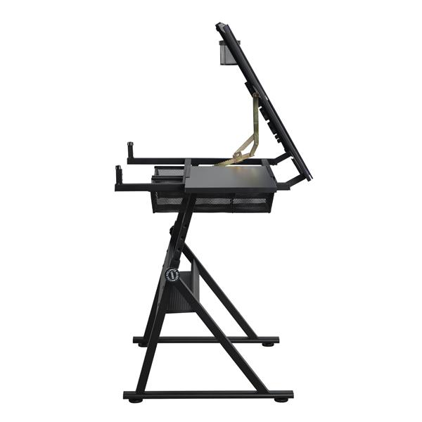 Height Adjustable Glass Top Drafting Table with Storage Drawer Black