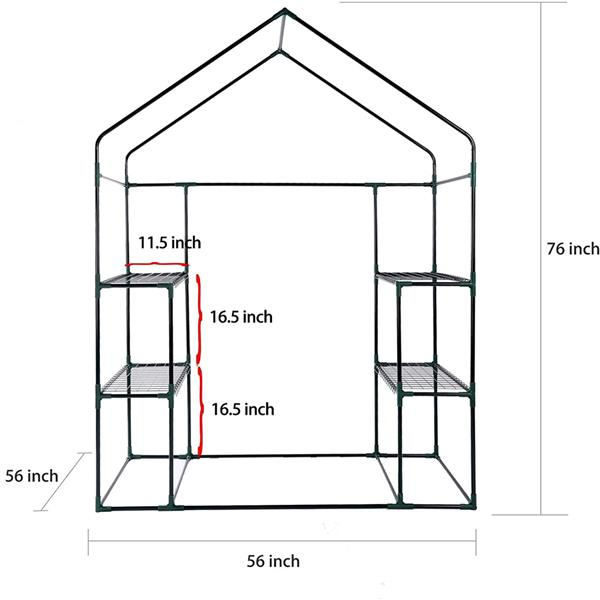 "Green House 56"" W x 56"" D x 76"" H,Walk in Outdoor Plant Gardening Greenhouse 2 Tiers 8 Shelves - Window and Anchors Include(Green)"