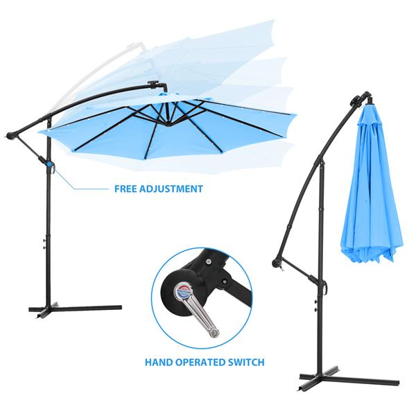 10 FT Solar LED Patio Outdoor Umbrella Hanging Cantilever Umbrella Offset Umbrella Easy Open Adustment with 24 LED Lights -blue