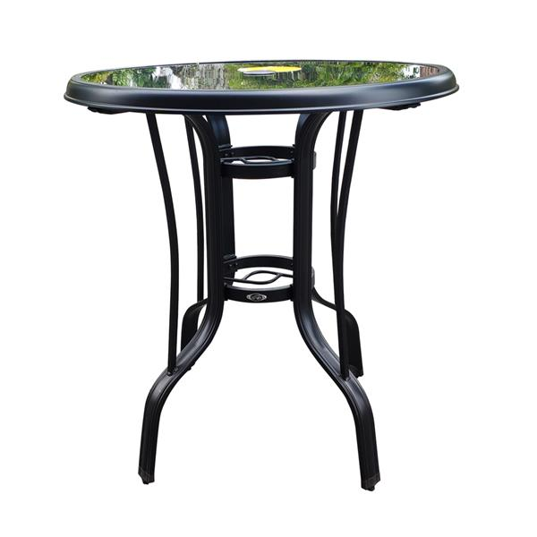 Outdoor glass round bar table,Suitable for Yard,Backyard and Garden