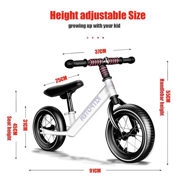 KITPOTEN Balance Bike for 4 Year Old Boy & Girl, 12 Inch High-Carbon Zinc-Plated Balance to Pedal Bike, Eco-Friendly Soft Widen Pneumatic Tire, Balancing Bike with Stainless Steel Iron Rim-White-LIMIT