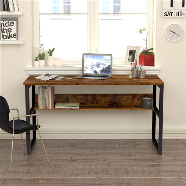 Wood and Metal Frame Computer Desk with Bookshelf Modern Home Office Large Computer Writing Table