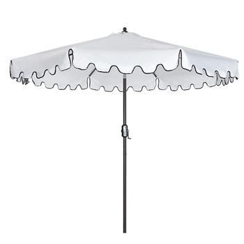 Outdoor Patio Umbrella 9-Feet Flap Market Table Umbrella 8 Sturdy Ribs with Push Button Tilt and Crank, beige with Flap[Umbrella Base is not Included]