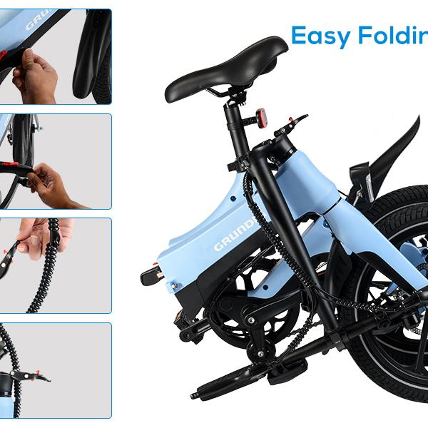 """GRUNDIG Electric Bike S6 Blue, Foldable E-bike Bicycle for Adult with Detachable Battery 16"""" Tires 250W Motor Dual Disc Brakes Shock Absorber Magnesium Alloy Frame and 3 Speed Modes, Max Speed 25 km/h"""