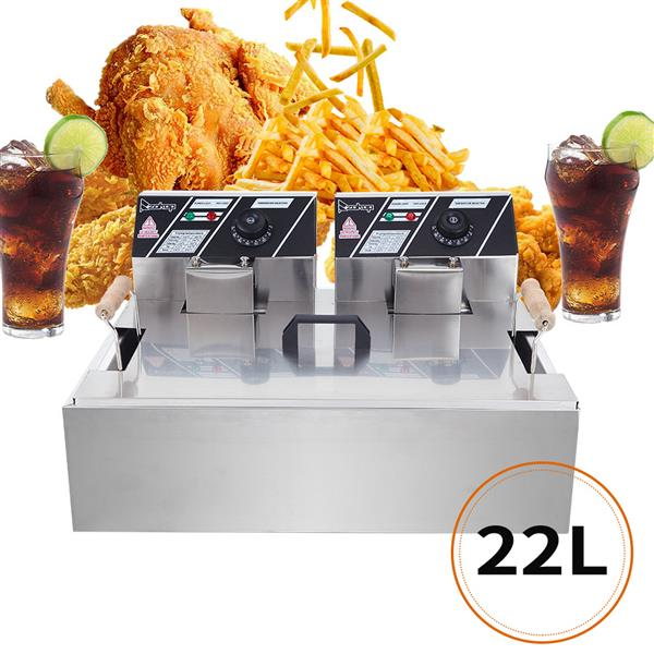 ZOKOP Eh83O 220-240V Oil Consumption 12.7Qt/12L Oil Pan Total Capacity 23.26Qt/22L Stainless Steel Large Single-Cylinder Electric Fryer 5000W Max