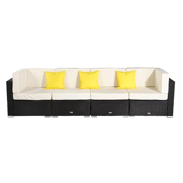 4 Pieces Patio PE Wicker Rattan Corner Sofa