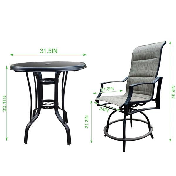 On Shine 3 PCS Outdoor Furniture Patio Swivel Bar Set Height Patio Bistro Set and 1 Table,Patio Furniture Sets Suitable for Yard,Backyard and Garden