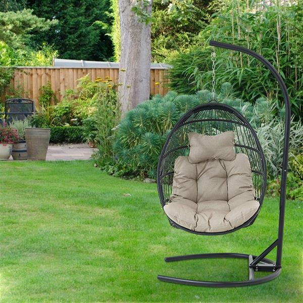 Swing Chair Hanging Chair Cushion with Steel Support Frame Wicker Hanging Egg Basket Seat for Home, Beige