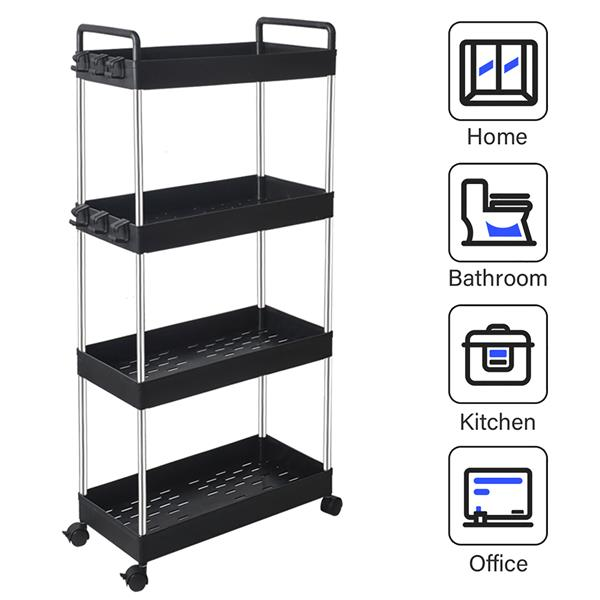 Rolling Storage Cart 4-Tier Mobile Shelving Unit Bathroom Carts with Handle for Kitchen Bathroom Laundry Room