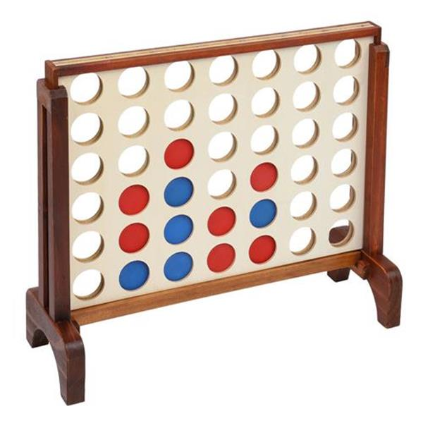 Giant Wooden 4 in a Row Game with Storage Bag,  Family Game Fun for Adults and Kids,Brown