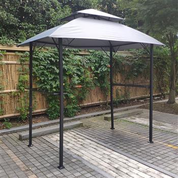 Outdoor Grill Gazebo 8 x 5 Ft, Shelter Tent, Double Tier Soft Top Canopy and Steel Frame with hook and Bar Counters, -grey