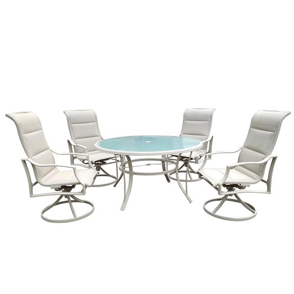 5 Pcs Patio Dining Table & Chair Set Clearance with 4 Swivel Dining Chairs & 1 Round  Dining Table, for Outdoor Kitchen Lawn & Garden