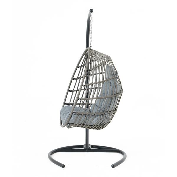 Hanging Chair Wicker Swing Chair Cushion with Steel Support Frame Hanging Egg Basket Seat for Home, Black