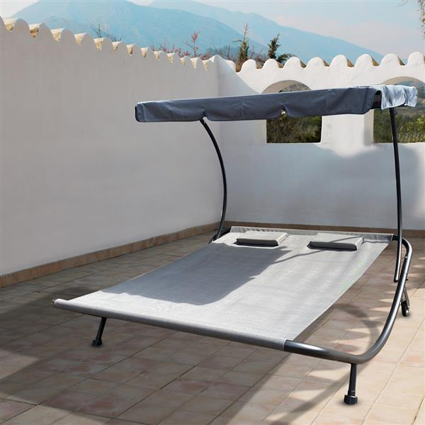 Patio Outdoor Double Chaise Lounge with Adjustable Canopy and Headrest Pillow, Patio Wheeled Hammock Bed for Sun Room, Garden, Courtyard, Poolside,Beach, Grey
