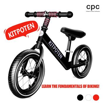 KITPOTEN Balance Bike for 4 Year Old Boy & Girl, 12 Inch High-Carbon Zinc-Plated Balance to Pedal Bike, Eco-Friendly Soft Widen Pneumatic Tire, Balancing Bike with Stainless Steel Iron Rim-Black-LIMIT