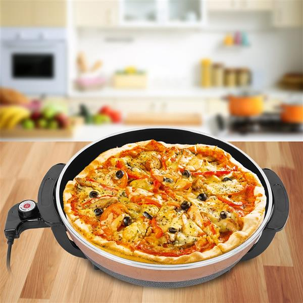 1500W Multifunctional Non-stick Frying Pizza Pan Electric Heating Skillet with Lid UK Plug 220V