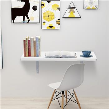 Wall Mounted Floating Folding Table Desk for Office Home Kitchen 60 x 40cm White