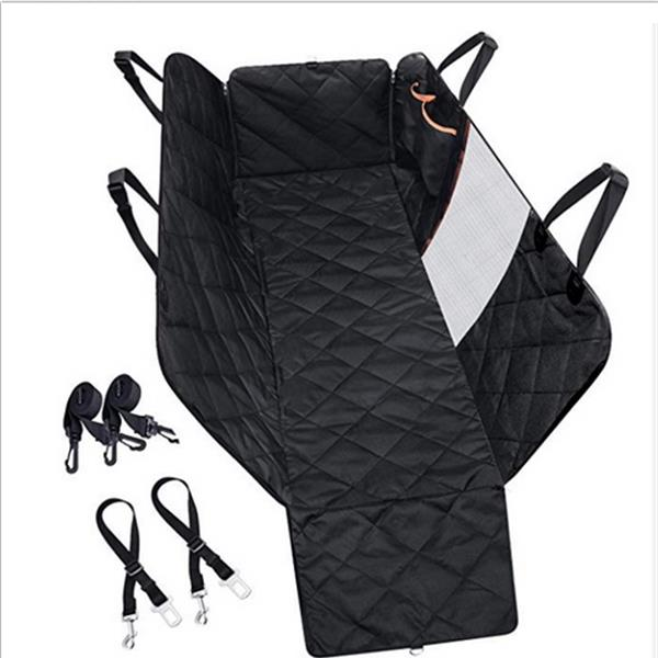 100% Waterproof Dog Car Seat Covers with Mesh Visual Window for Cars Trucks SUV Black Color