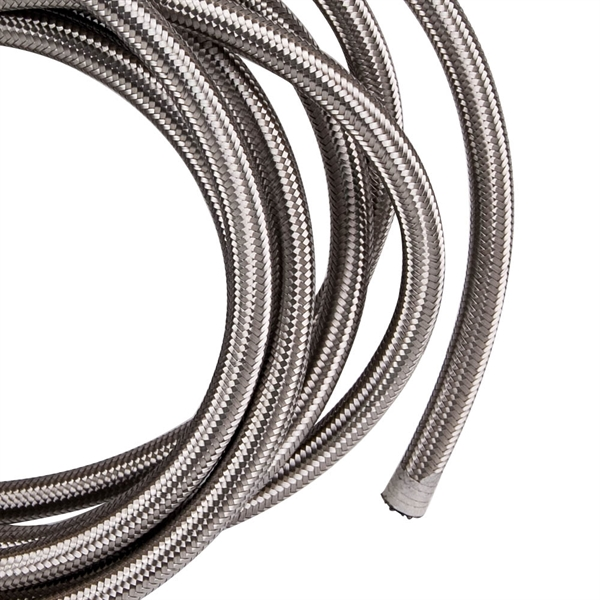 -8 8AN Stainless Steel Braided Fuel / Oil Line Hose AN8 Silver 20 FT