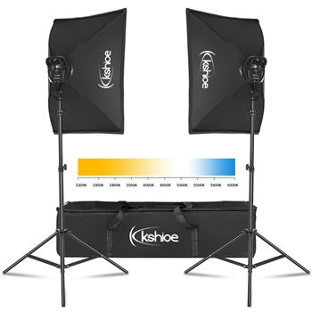 "Kshioe Softbox Lighting Kit, Photo Equipment Studio Softbox 20"" x 27"", 45W Dimmable LED with Double Color Temperature for Portrait Video and Shooting"