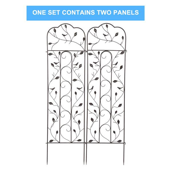 """2 Pack 59"""" x 16"""" Rustproof Iron Garden Trellis for Potted Plants Lattice Climbing Rose Vine Flower Cucumber Clematis, Arched Top with Leaf Style"""