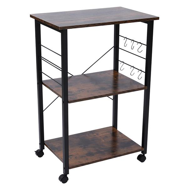 Kitchen Baker's Rack, Microwave Oven Stand Storage Cart, Printer Stand, 3-Tier Serving Cart with Metal Frame and 6 Hooks, Industrial Design, Rustic Brown