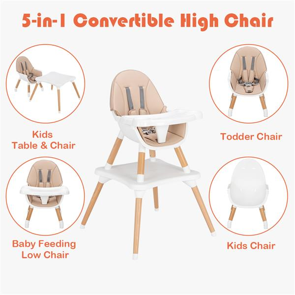 Children's High Dining Chair Detachable Two-In-One Table And Chair Beige