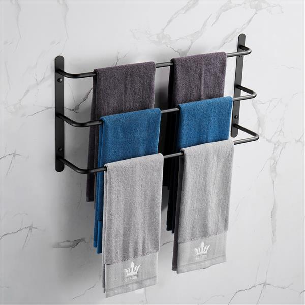 THREE Stagger Layers Towel Rack 304 Stainless Steel Towel Bars Bathroom Accessories Set Matte Black 27.56 inches KJWY003HEI-70CM