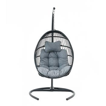 Swing Chair Hanging Chair Cushion with Steel Support Frame Wicker Hanging Egg Basket Seat for Home ,gray