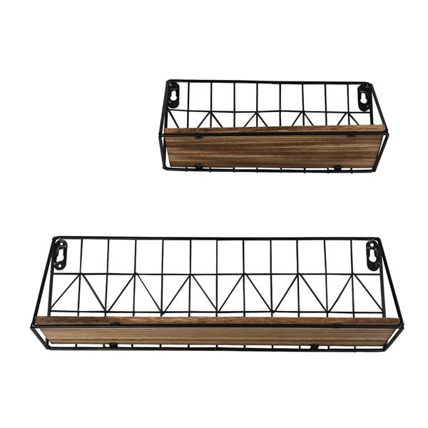 Set of 2 Wall Floating Shelves Rustic Modern Wood Wall Storage Shelves with Metal Wire Display Shelf for Bedroom Living Room Bathroom Kitchen Office, Brown