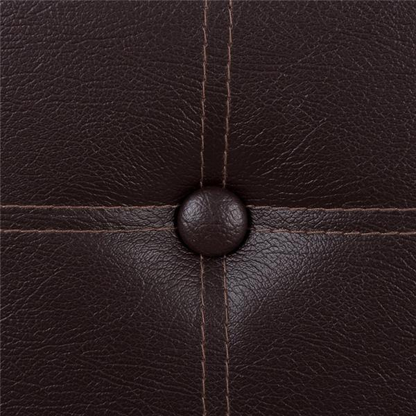 Practical PVC Leather Rectangle Shape with Leather Button Footstool Large Size Brown