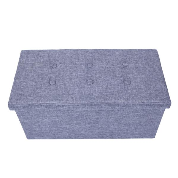 Practical Hessian Rectangle Shape Surface with Leather Button Footstool Gray