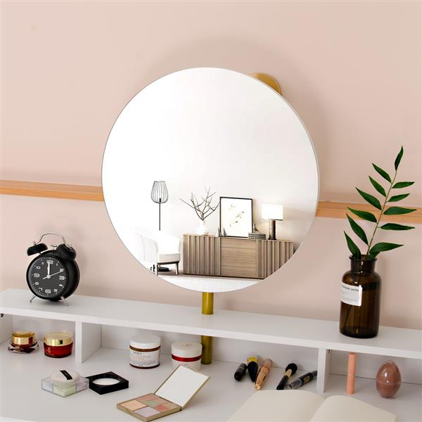FCH Desk Mirror 4 Drawers With Stool Steel Frame Dressing Table White