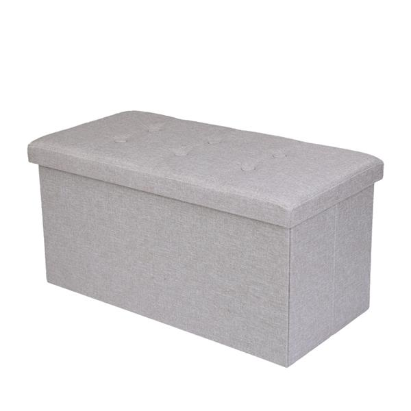 Practical Hessian Rectangle Shape Surface with Leather Button Footstool White