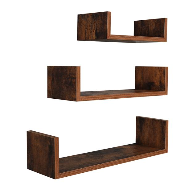 Set of 3 Floating Display Shelves Ledge Bookshelf Wall Mount Storage Home Décor Vintage