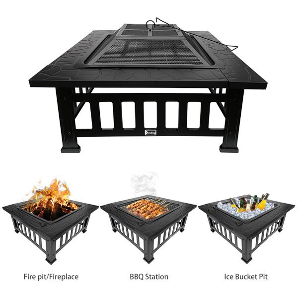 ZOKOP YL32T/32 Inch Outdoor Wood Fire Four-Corner Brazier / Heater / Heater / With Grilling Net / With Hook / With Dust Cover / Black