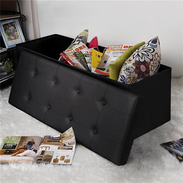 Practical PVC Leather Rectangle Shape with Leather Button Footstool Large Size Black