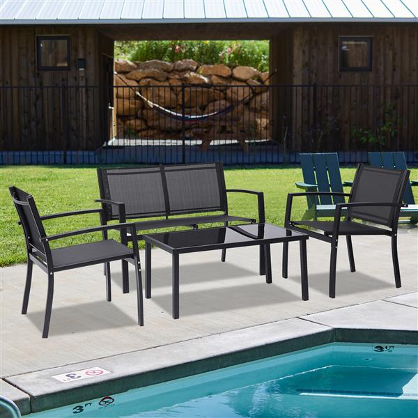 4 Pieces Patio Furniture Set Outdoor Garden Patio Conversation Sets Poolside Lawn Chairs with Glass Coffee Table Porch Furniture (Black)